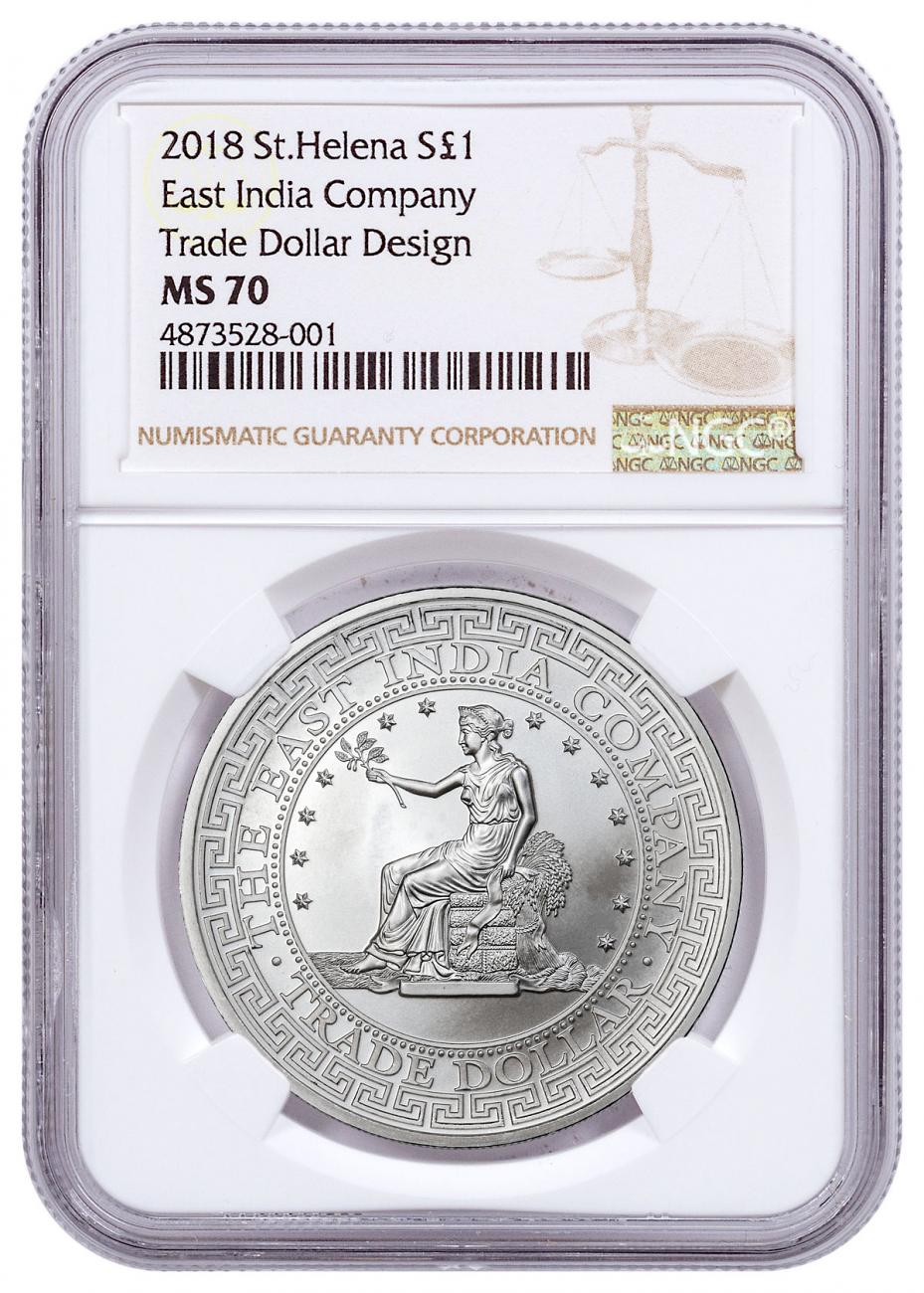 2018 St. Helena St. Helena Silver £1 East India Silver Trade Dollar NGC MS70