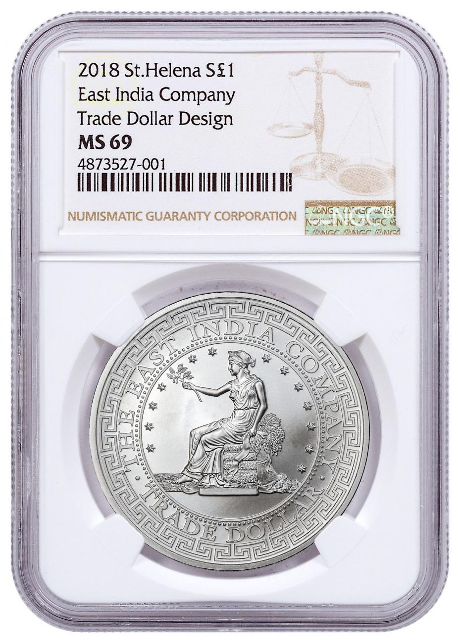 2018 St. Helena St. Helena Silver £1 East India Silver Trade Dollar NGC MS69