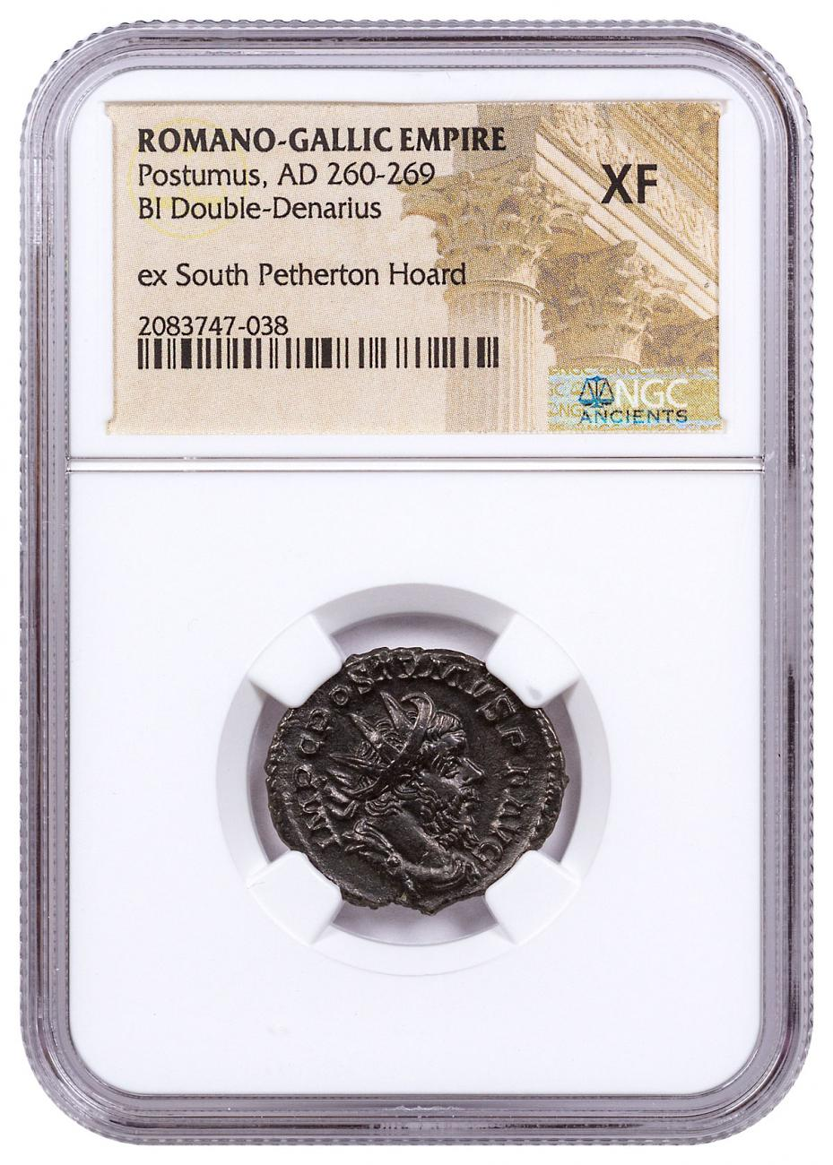 Romano-Gallic Empire, Billon Double Denarius of Posthumus (AD 260-269) NGC XF - South Petherton Hoard