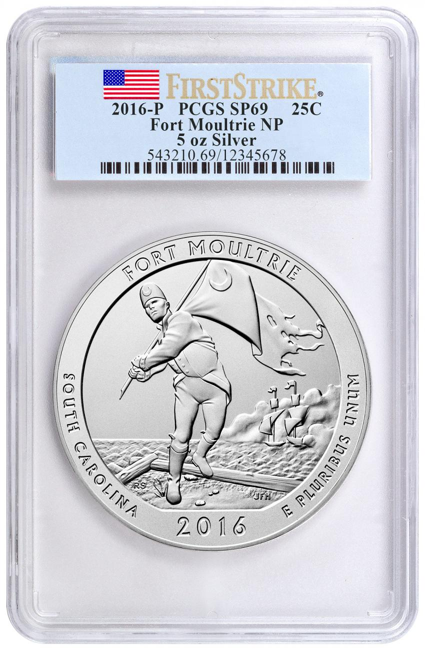 2016-P Fort Moultrie 5 oz. Silver America the Beautiful Specimen Coin PCGS SP69 FS Flag Label