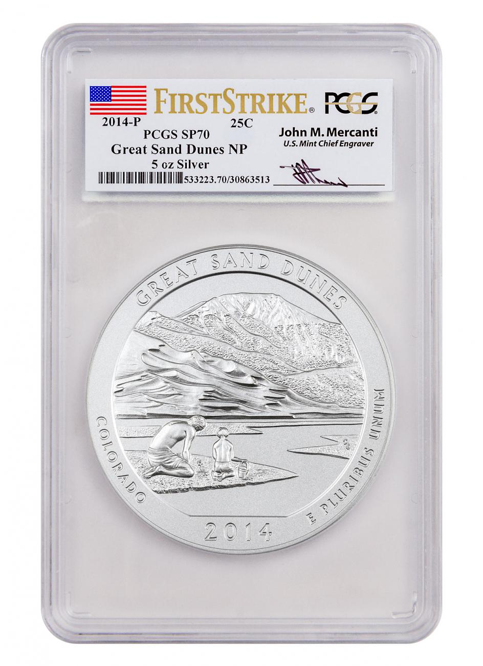 2014-P Great Sand Dunes 5 oz. Silver America the Beautiful Specimen Coin PCGS SP70 FS (Mercanti Signed Label)