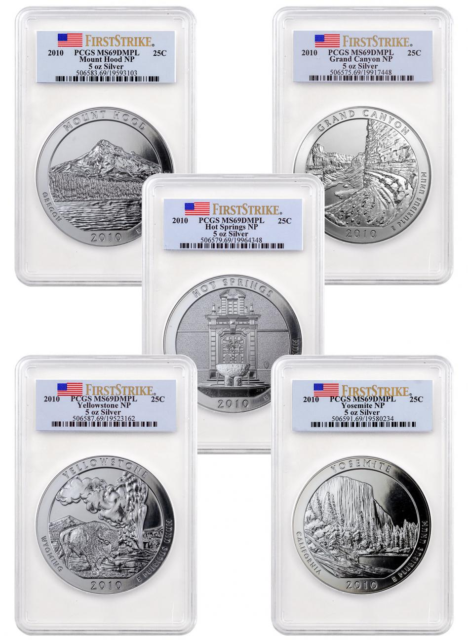 5-Coin Set of 2010 5 oz. Silver America the Beautiful Coins PCGS MS69 DMPL FS