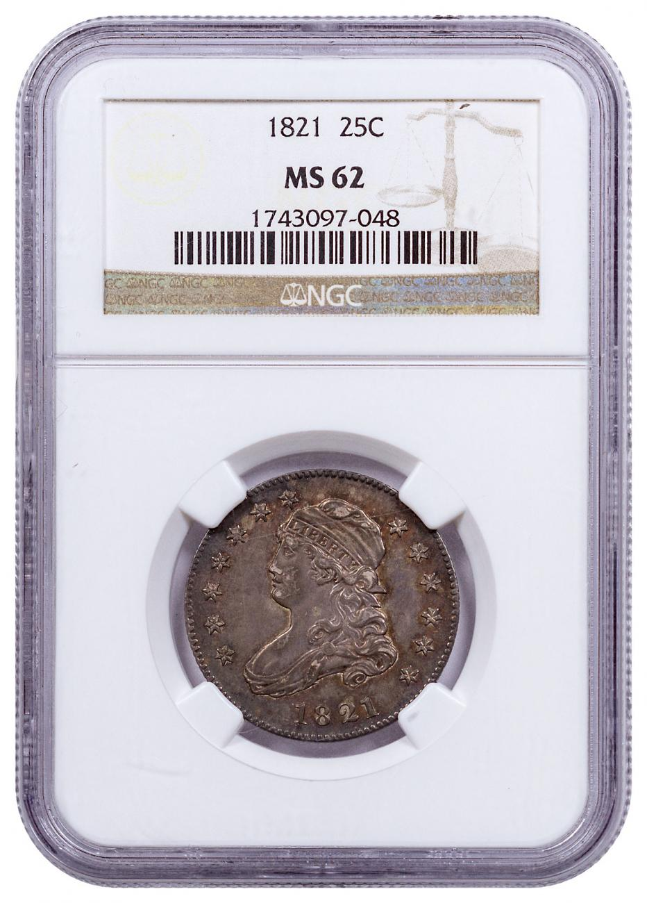 1821 Silver Capped Bust Quarter NGC MS62