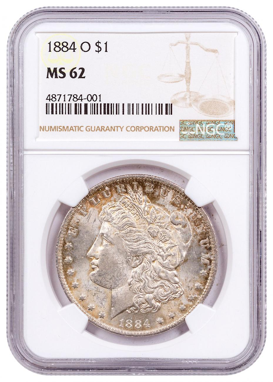 1884-O Morgan Silver Dollar Toned NGC MS62 CPCR 4001