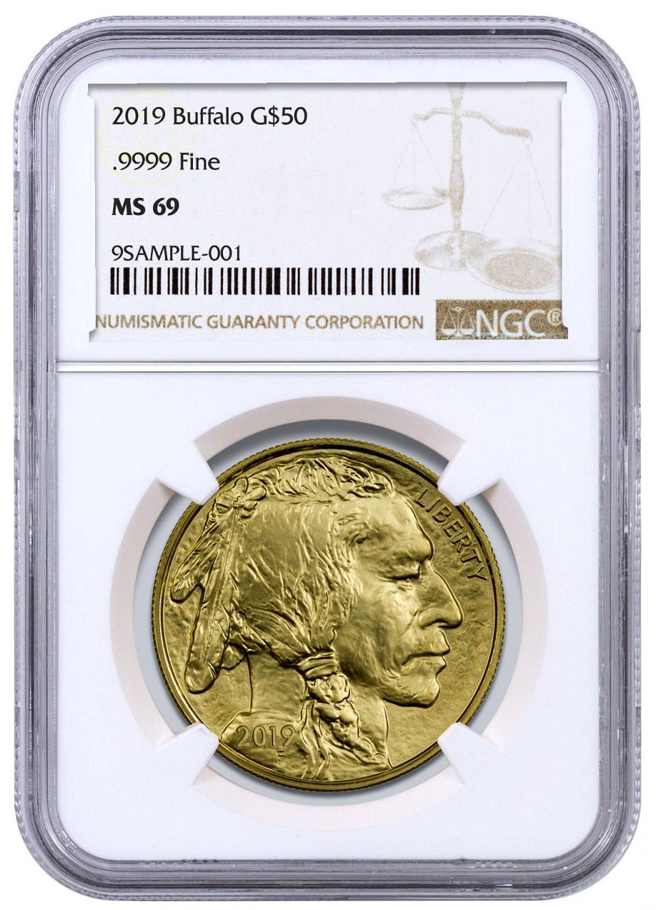2019 1 oz Gold Buffalo $50 Coin NGC MS69