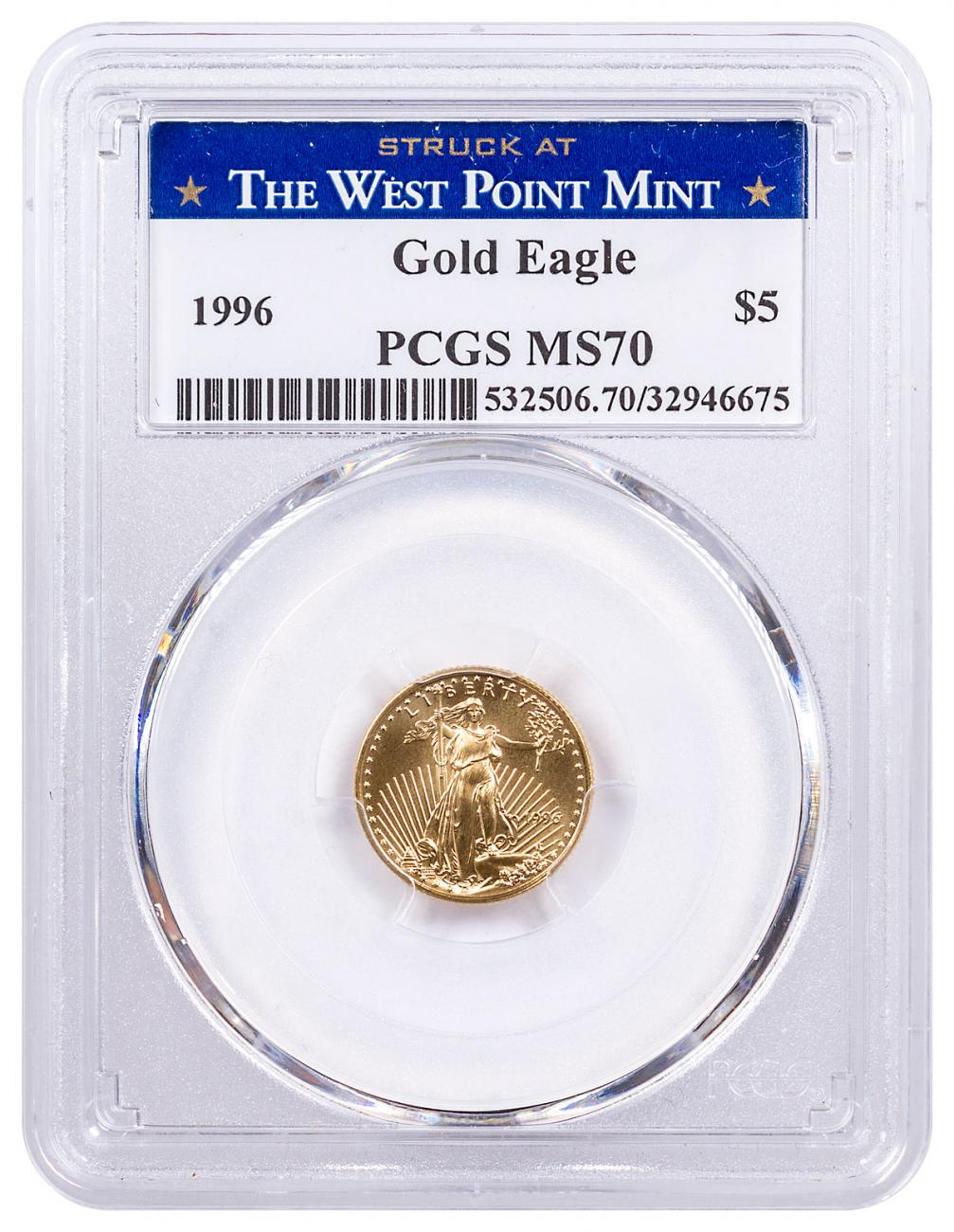 1996 1/10 oz Gold American Eagle $5 PCGS MS70 Struck at the West Point Mint Label