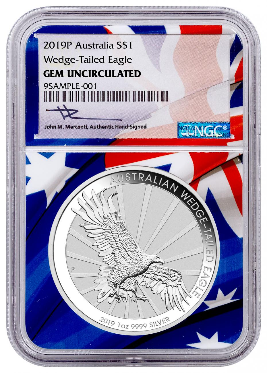 2019-P Australia 1 oz Silver Wedge-Tailed Eagle $1 Coin NGC GEM Unc Flag Core Mercanti Signed Label