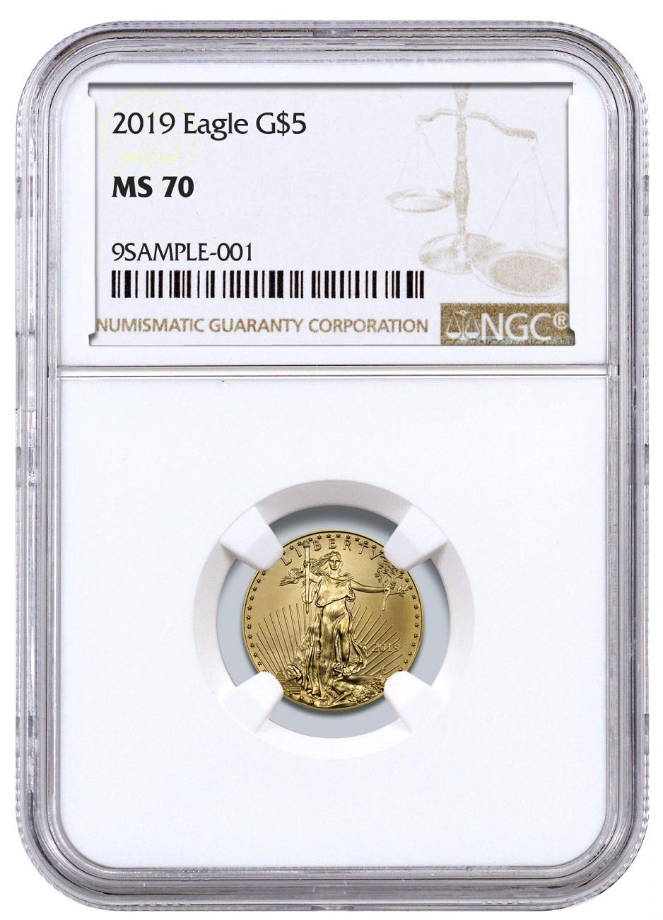 2019 1/10 oz Gold American Eagle $5 NGC MS70 Brown Label
