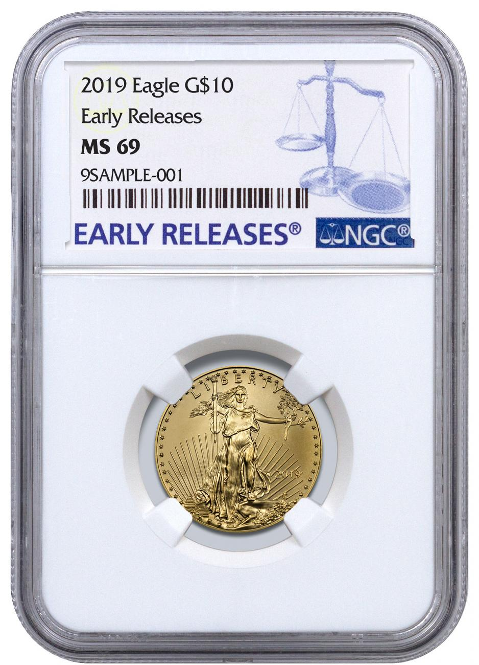 2019 1/4 oz Gold American Eagle $10 NGC MS69 ER Blue Label