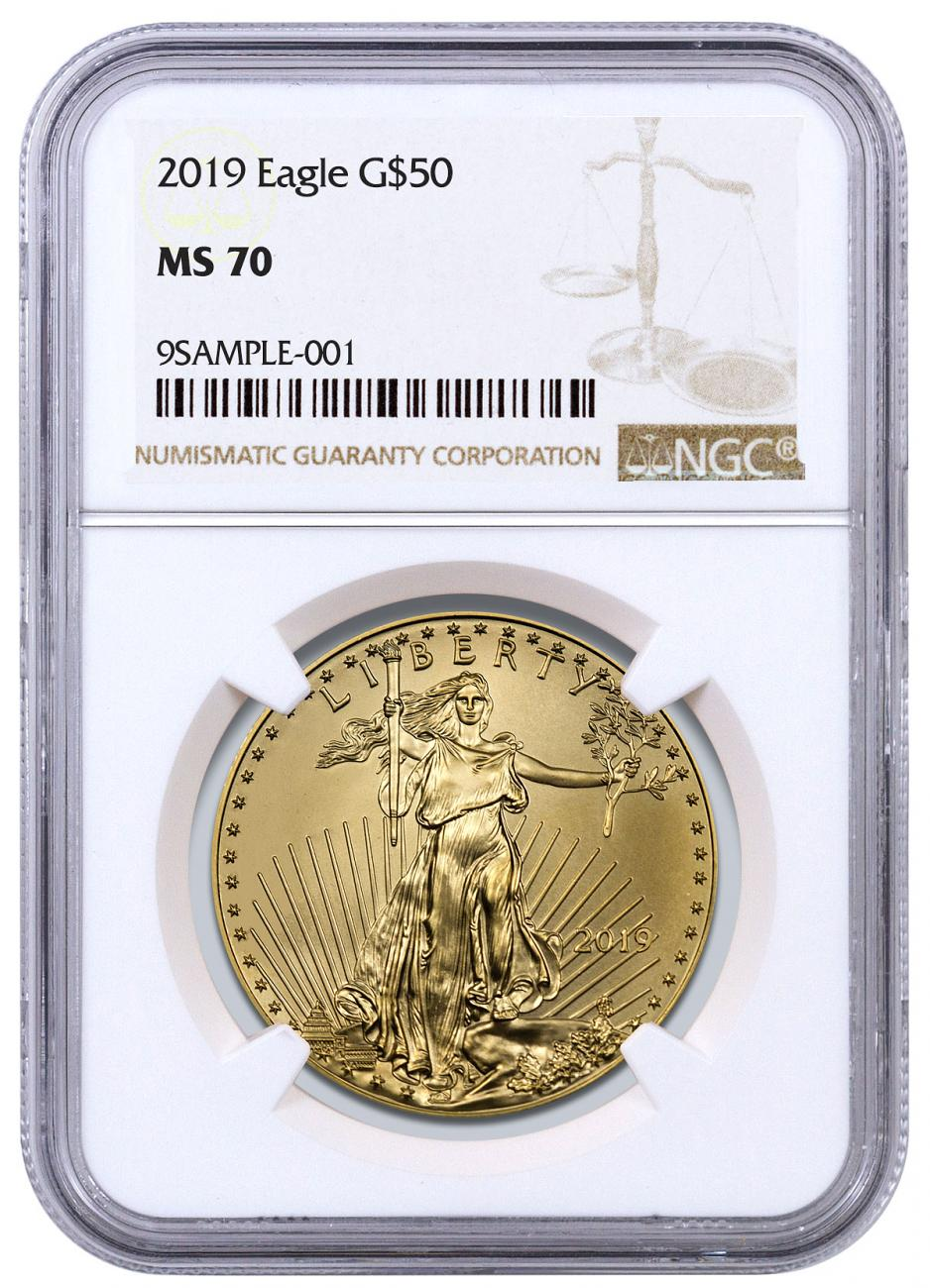 2019 1 oz Gold American Eagle $50 NGC MS70 Brown Label
