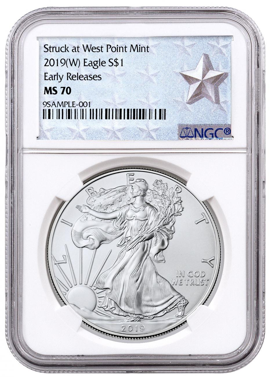 2019-(W) American Silver Eagle Struck at West Point NGC MS70 ER West Point Silver Star Label