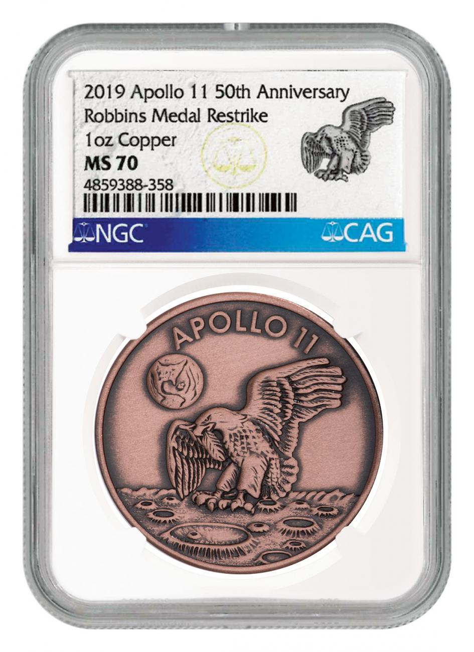 1969-2019 Apollo 11 50th Anniversary Robbins Medals 1 oz Copper Antiqued Medal NGC MS70