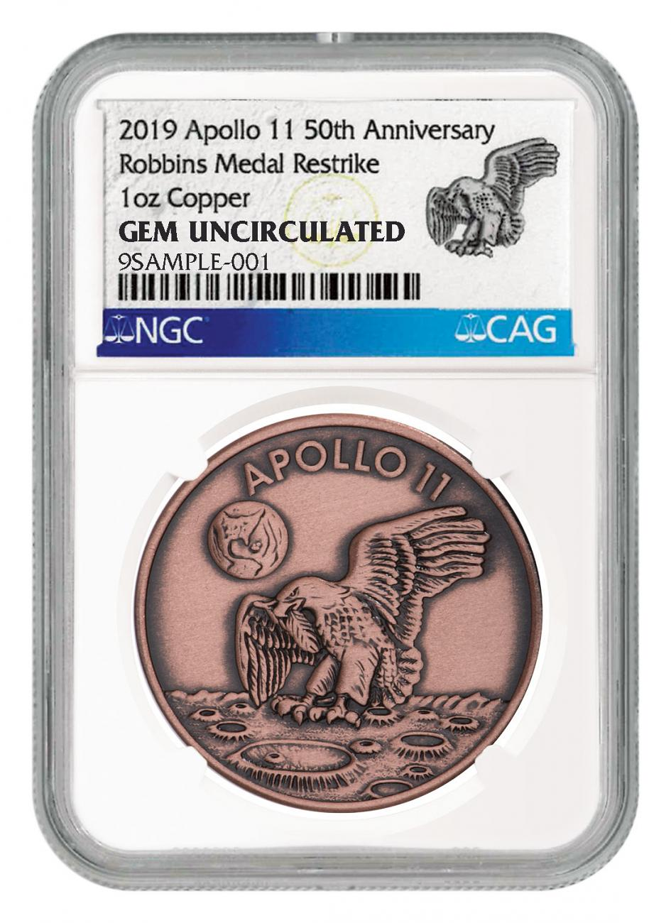 1969-2019 Apollo 11 50th Anniversary Robbins Medals 1 oz Copper Antiqued Medal NGC GEM Unc