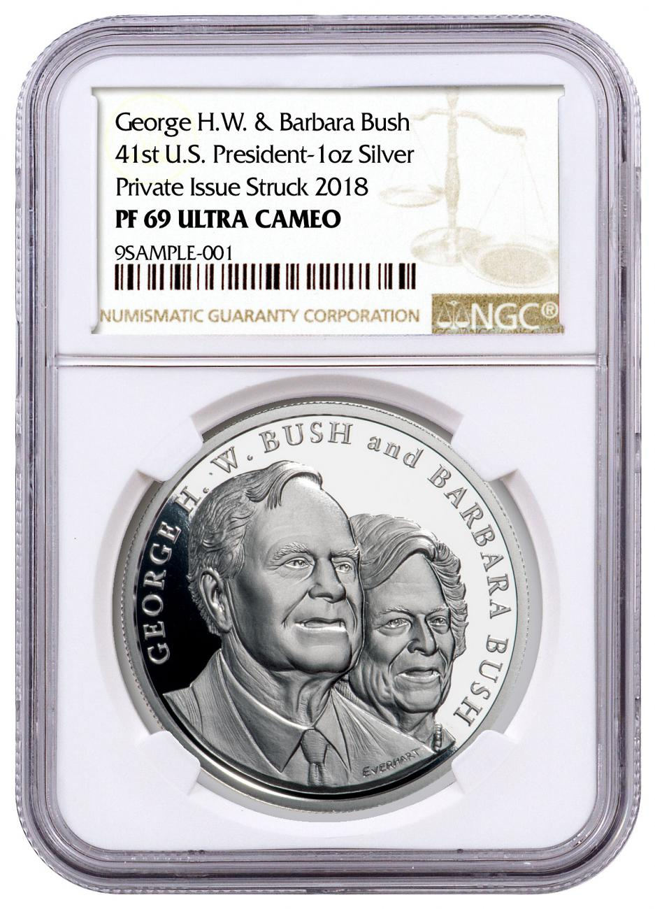 1989-1993 George & Barbara Bush Commemorative 1 oz Silver Proof Medal NGC PF69 UC