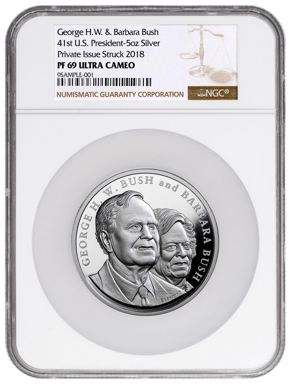 1989-1993 George & Barbara Bush Commemorative 5 oz Silver Proof Medal NGC PF69 UC