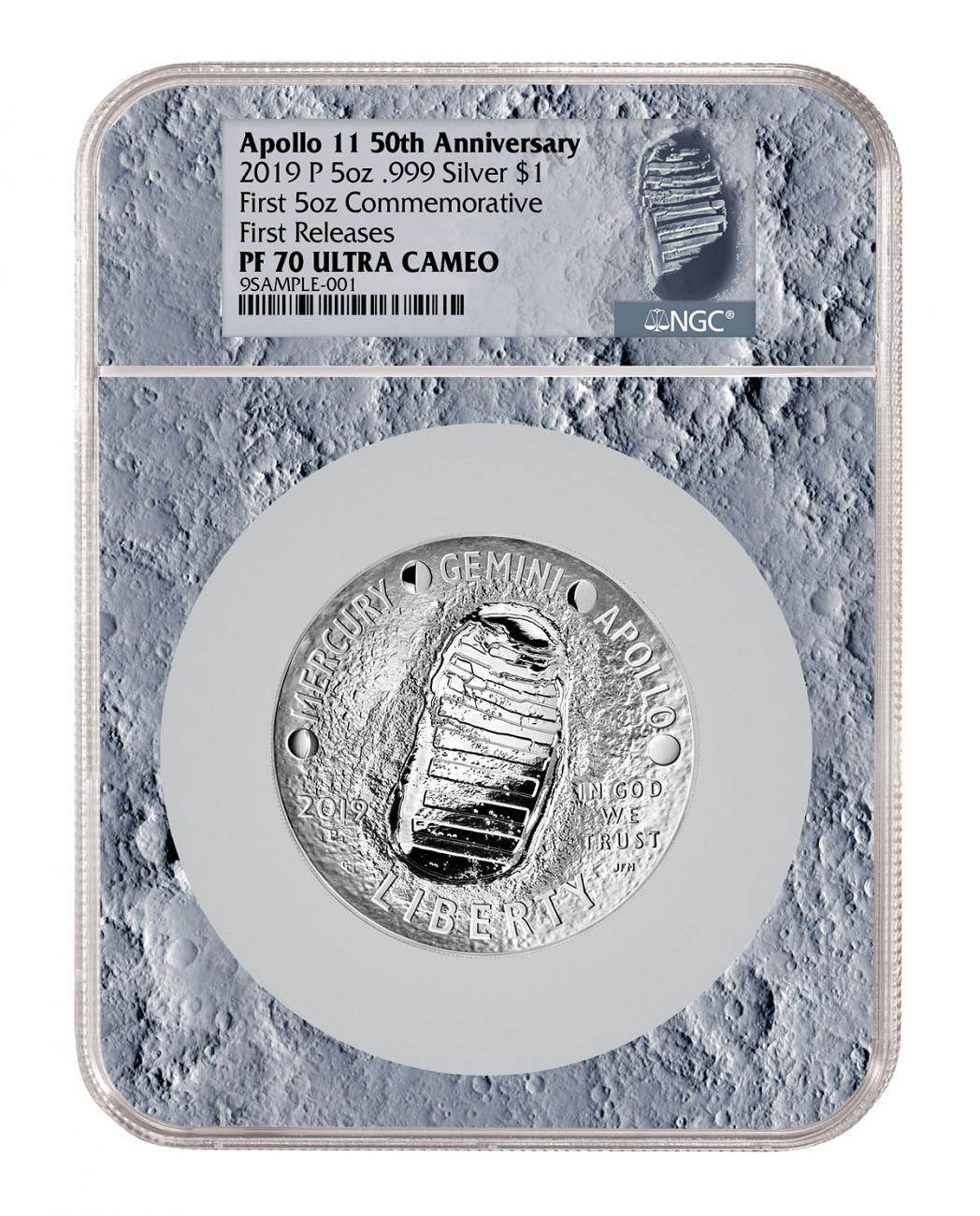 2019-P Apollo 11 50th Anniversary Commemorative 5 oz. Silver Dollar Proof Coin NGC PF70 FR With Apollo 11 Mission Patch Moon Core Holder