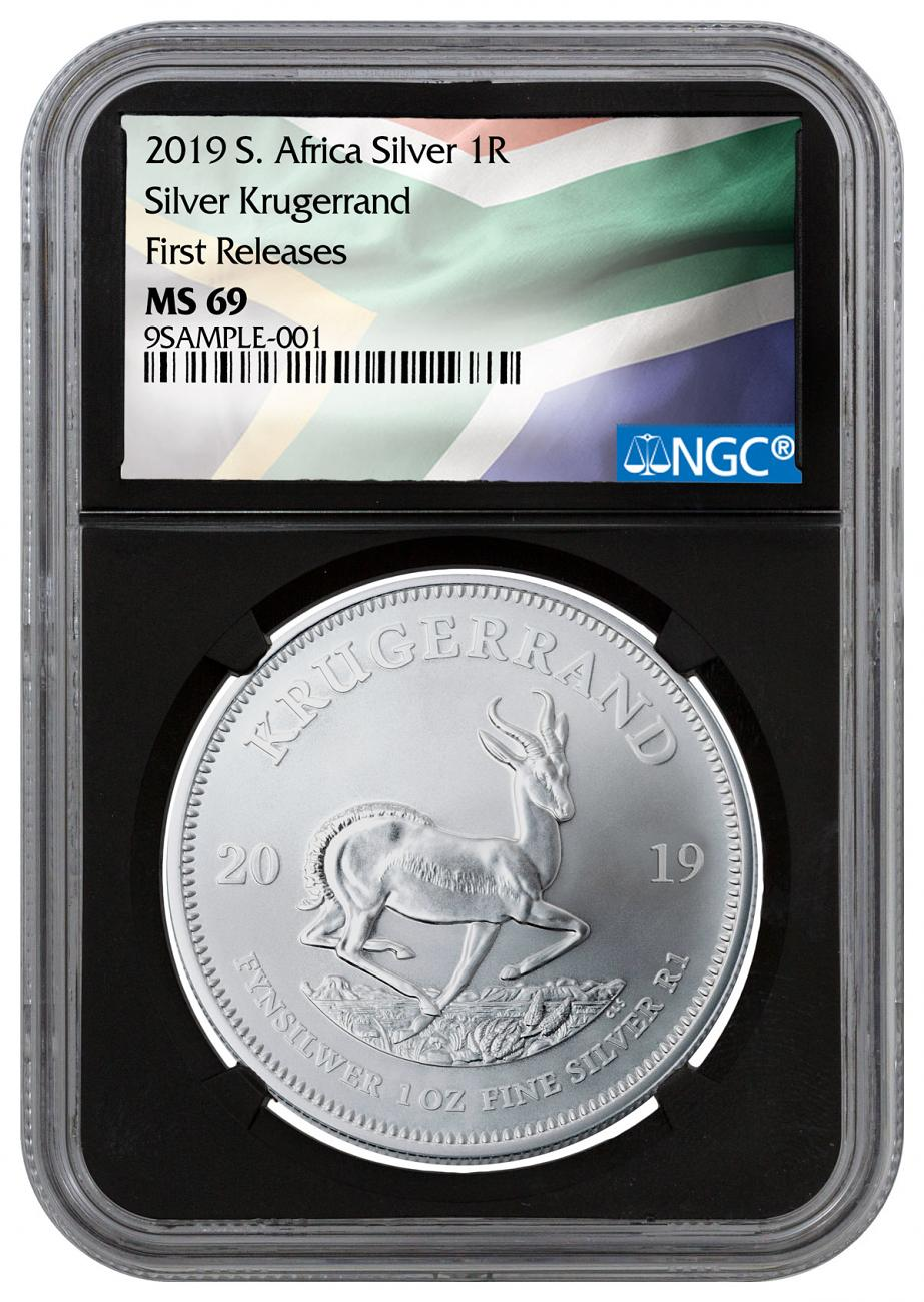 2019 South Africa 1 oz Silver Krugerrand 1 Coin NGC MS69 FR Black Core Holder South African Flag Label