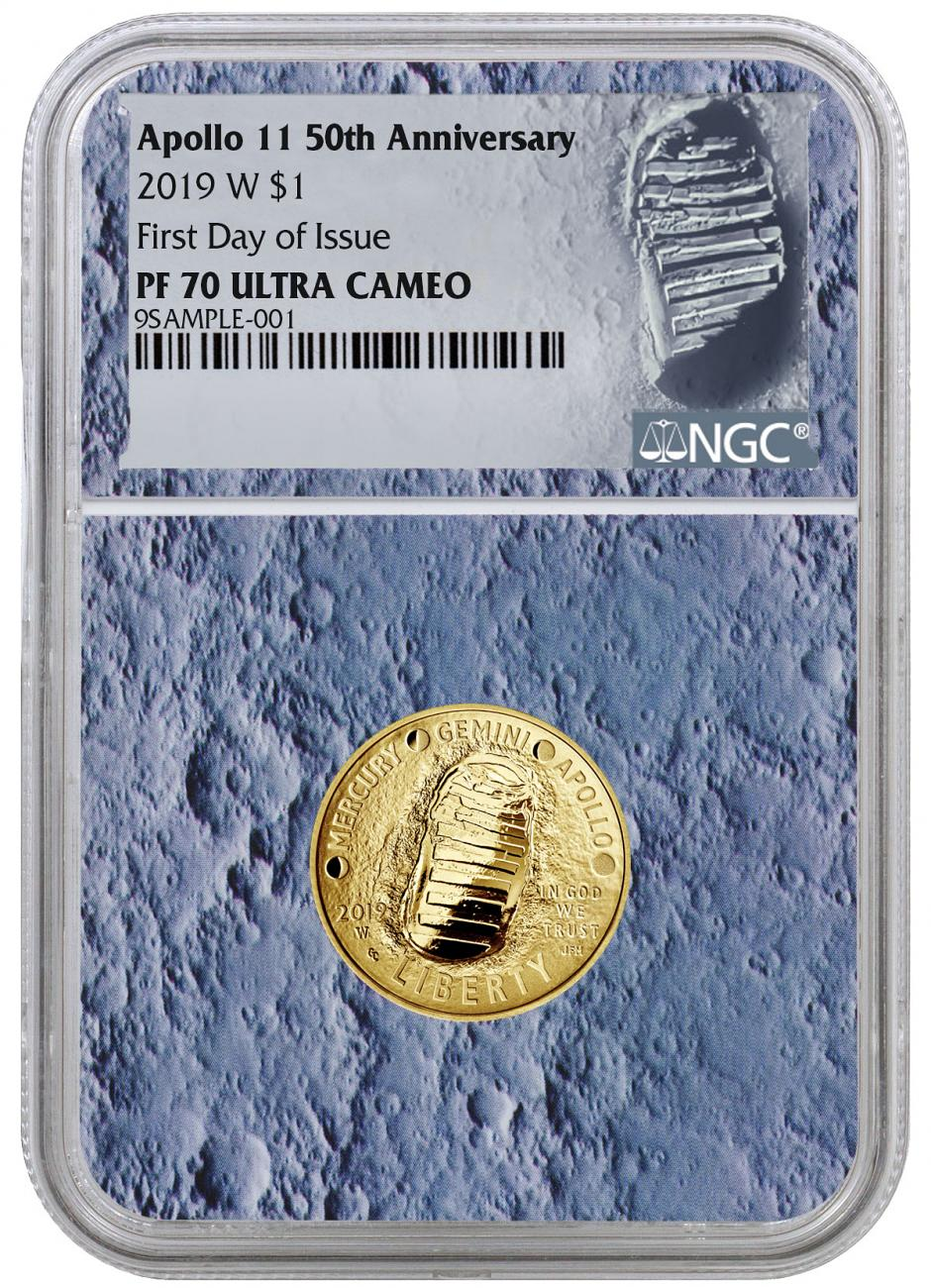 2019-W US Apollo 11 50th Anniversary $5 Gold Commemorative Proof Coin NGC PF70 FDI With Apollo 11 Mission Patch Moon Core Holder