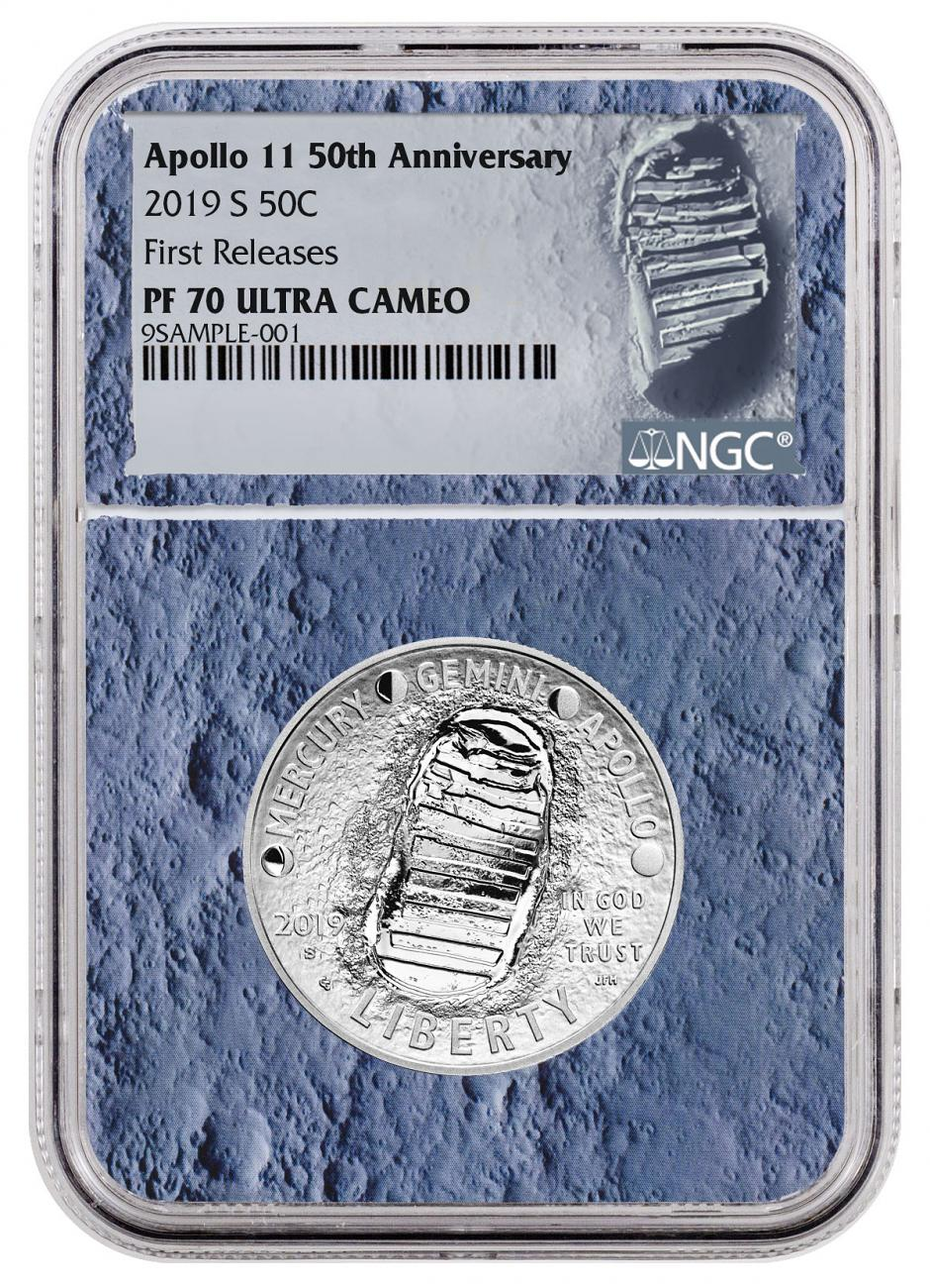 2019-S US Apollo 11 50th Anniversary Commemorative Clad Half Dollar Proof Coin NGC PF70 FR With Apollo 11 Mission Patch Moon Core Holder