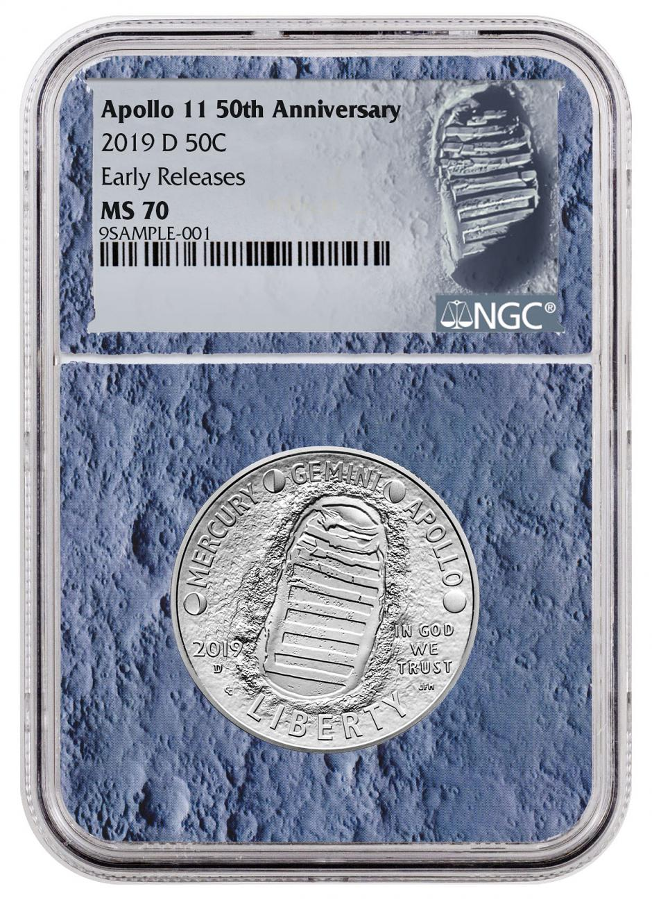 2019-D US Apollo 11 50th Anniversary Commemorative Clad Half Dollar Coin NGC MS70 ER With Apollo 11 Mission Patch Moon Core Holder