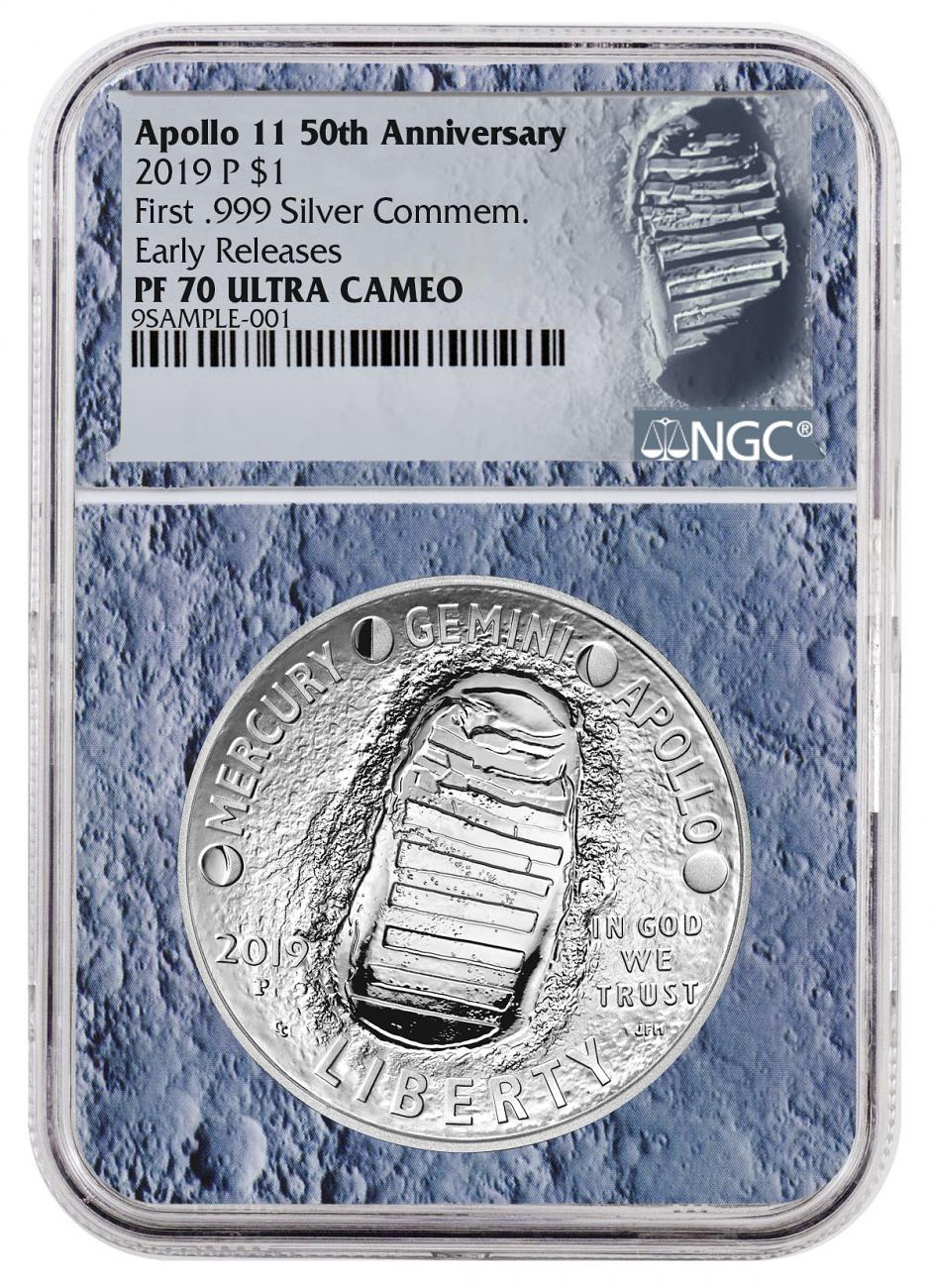 2019-P Apollo 11 50th Anniversary Commemorative Silver Dollar Proof Coin NGC PF70 ER With Apollo 11 Mission Patch Moon Core Holder
