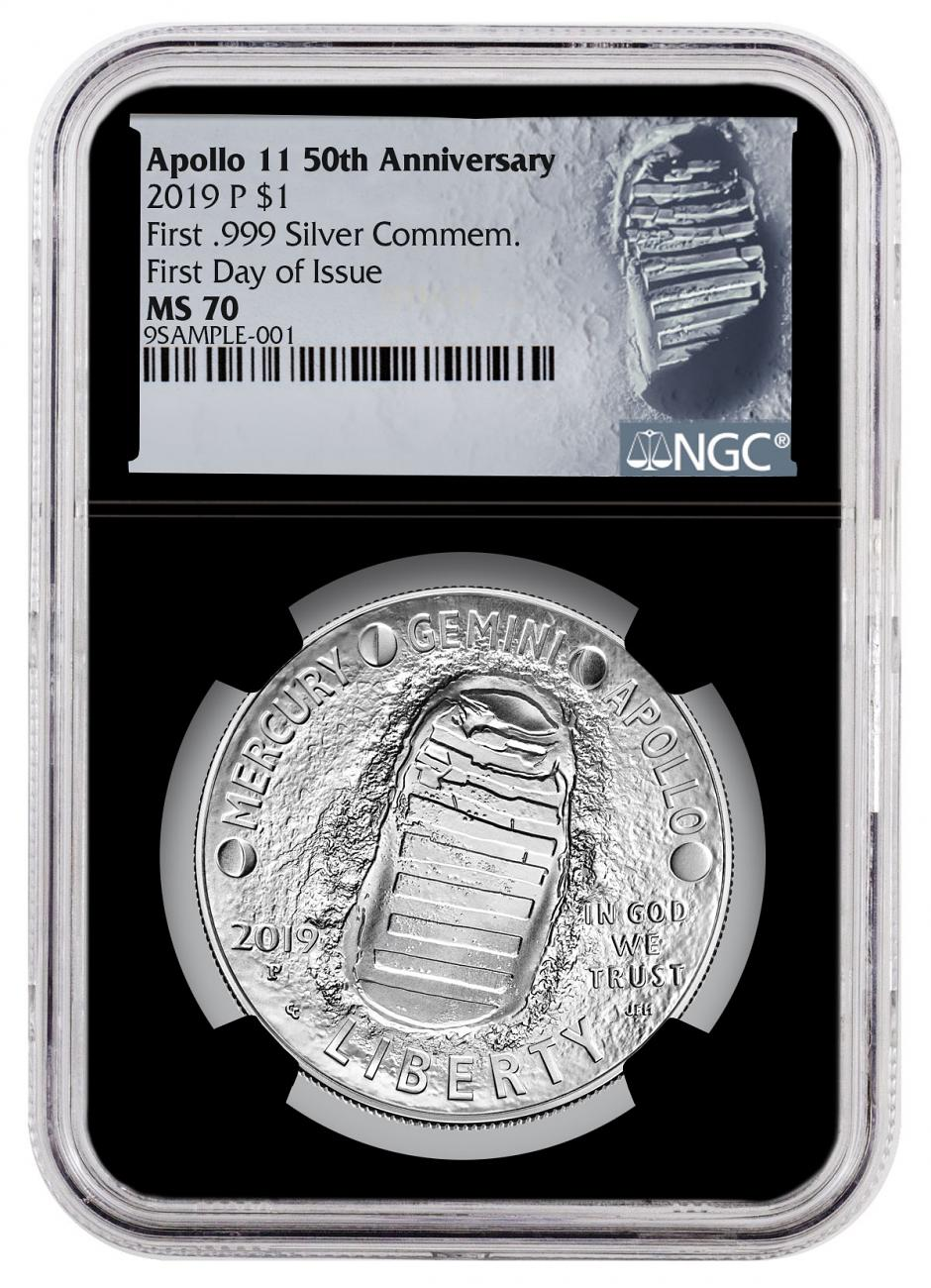 2019-P Apollo 11 50th Anniversary Commemorative Silver Dollar Coin NGC MS70 FDI Black Core Holder Moon Label