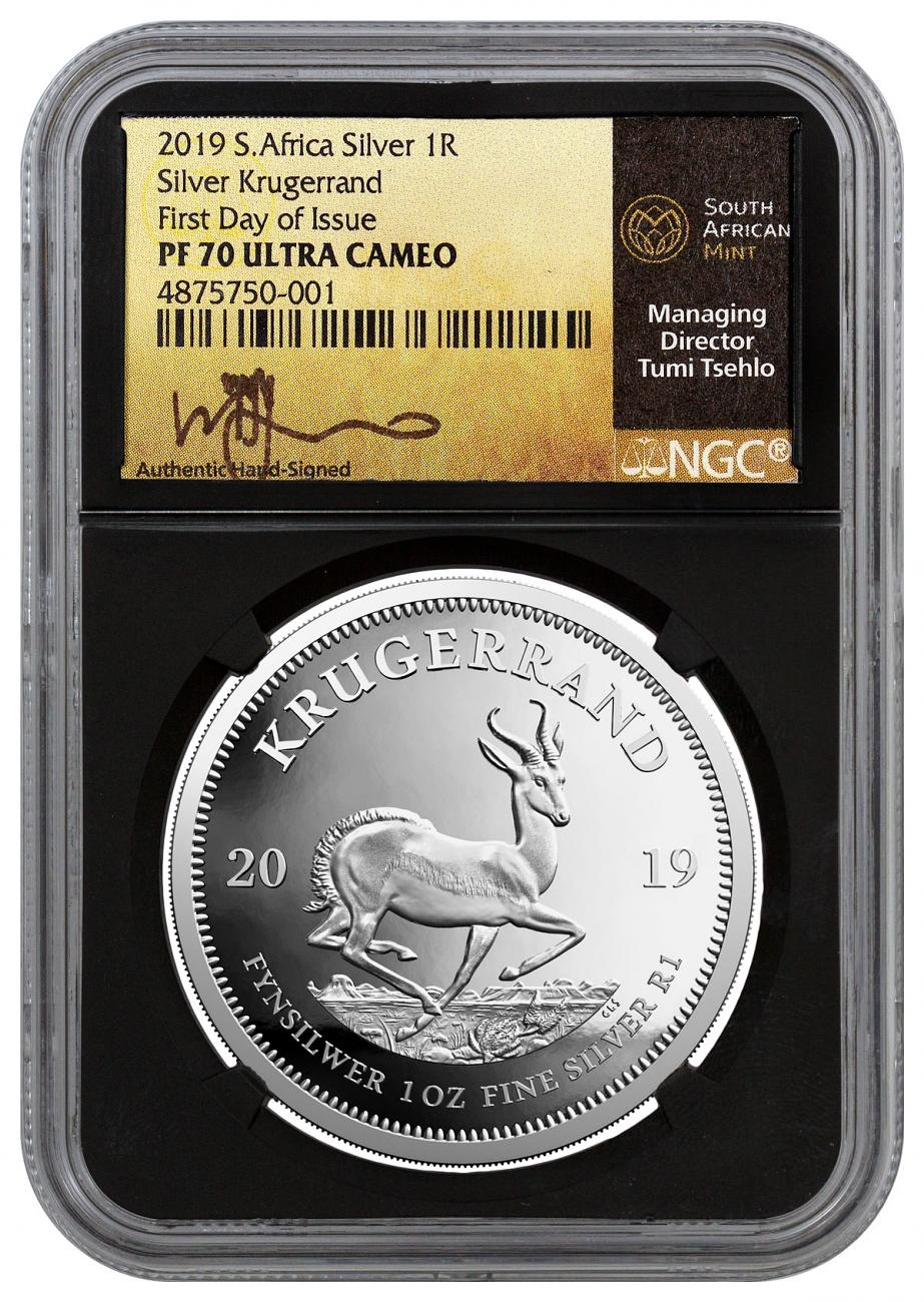 2019 South Africa 1 oz Silver Krugerrand Proof 1 Coin Scarce and Unique Coin Division NGC PF70 UC FDI Black Core Holder Tumi Signed Label