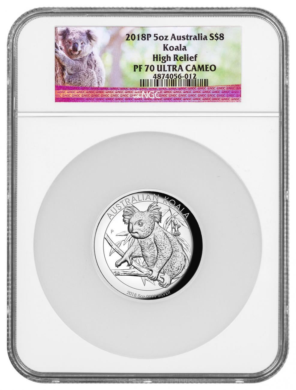 2018-P Australia 5 oz High Relief Silver Koala Proof $8 Coin NGC PF70 UC Mint Display Box Koala Label