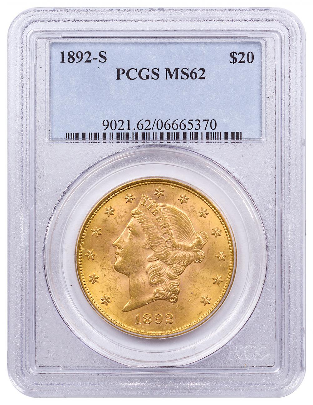 1892-S Liberty Head $20 Gold Double Eagles PCGS MS62