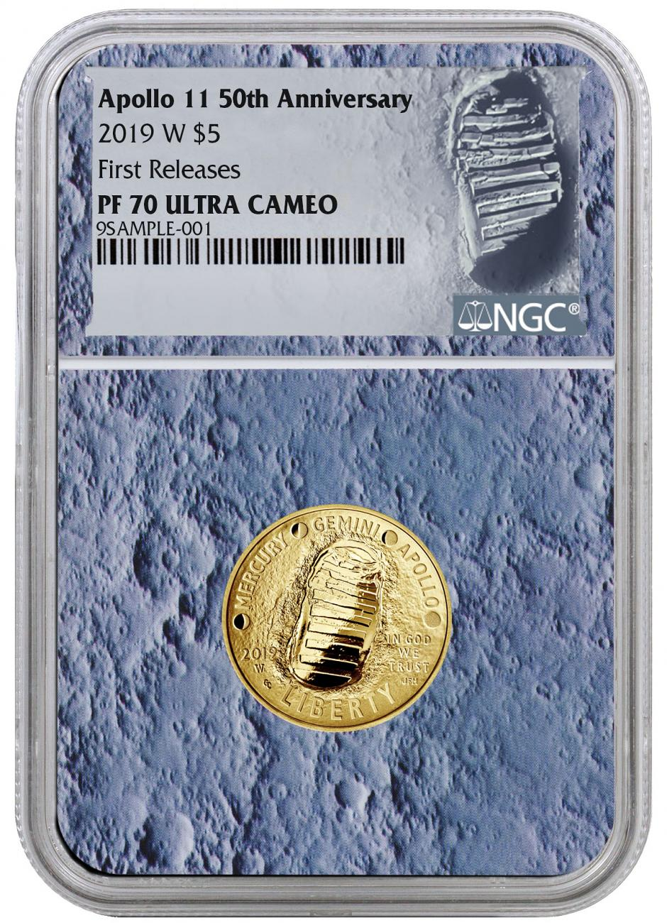 2019-W Apollo 11 50th Anniversary $5 Gold Commemorative Proof Coin NGC PF70 FR With Apollo 11 Mission Patch Moon Core Holder