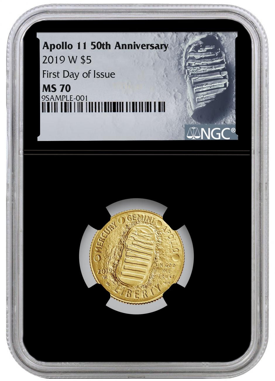 2019-W US Apollo 11 50th Anniversary $5 Gold Commemorative Coin NGC MS70 FDI Black Core Holder Moon Label