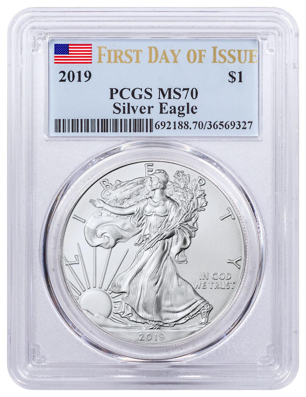 2019 1 oz Silver American Eagle $1 Coin PCGS MS70 FDI Flag Label