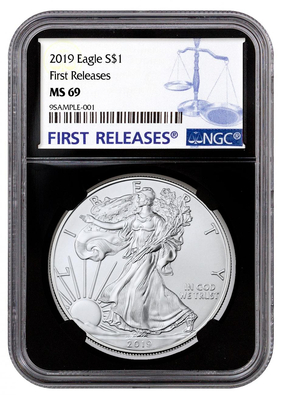 2019 American Silver Eagle NGC MS69 FR Black Core Holder