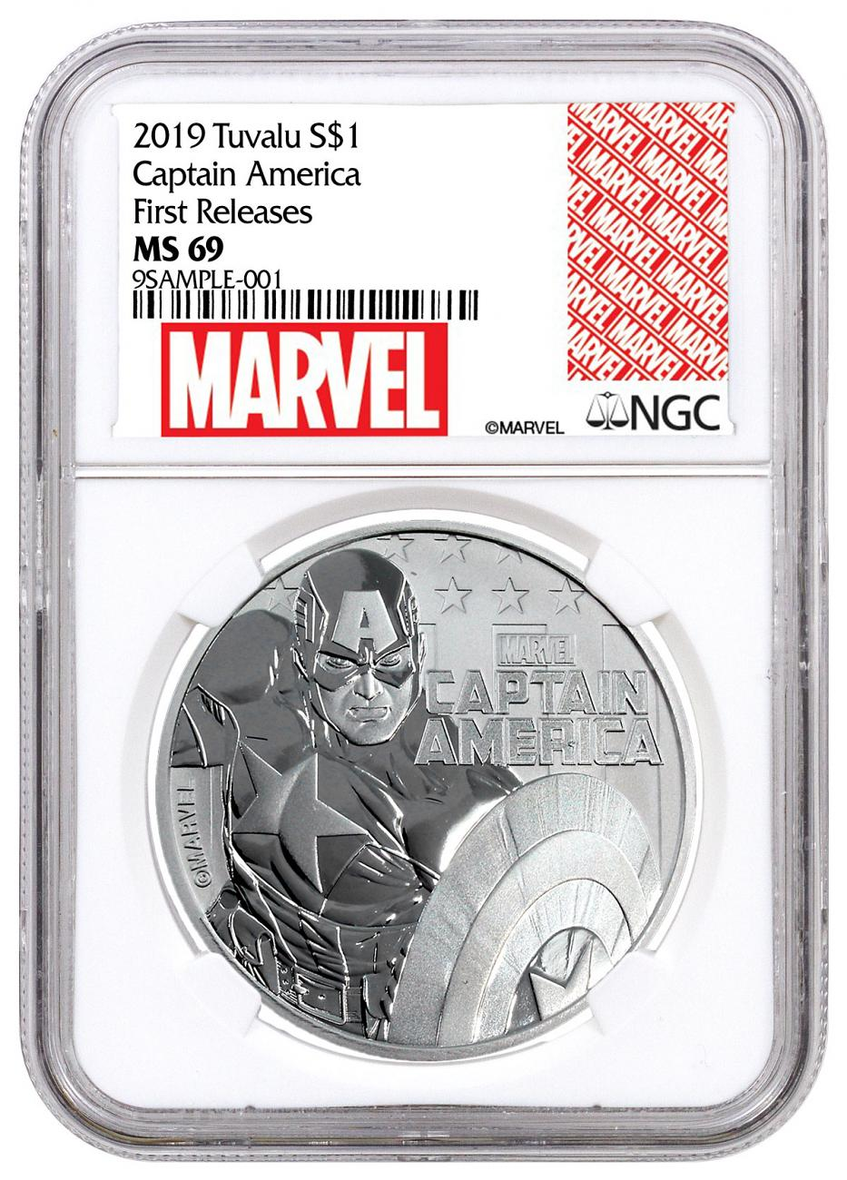 2019 Tuvalu Captain America 1 oz Silver Marvel Series $1 Coin NGC MS69 FR Exclusive Marvel Label