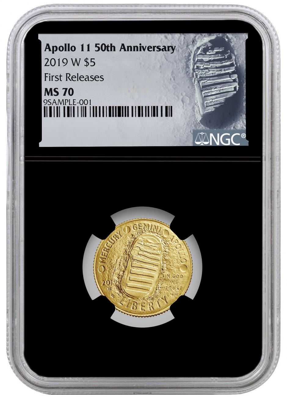 2019-W Apollo 11 50th Anniversary $5 Gold Commemorative Coin NGC MS70 FR Black Core Holder Moon Label