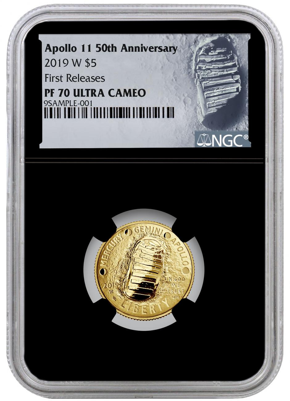 2019-W US Apollo 11 50th Anniversary $5 Gold Commemorative Proof Coin NGC PF70 FR Black Core Holder Moon Label