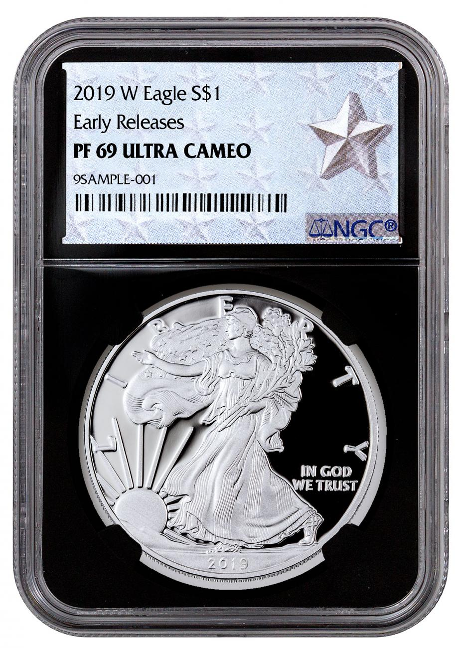 2019-W Proof American Silver Eagle NGC PF69 UC ER Black Core Holder West Point Silver Star Label