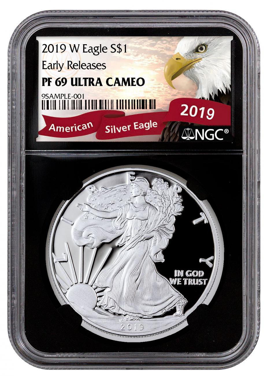 2019-W Proof American Silver Eagle NGC PF69 UC ER Black Core Holder Exclusive Eagle Label