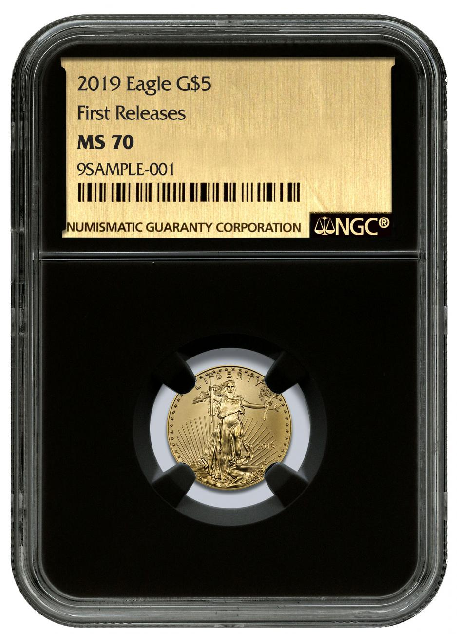 2019 1/10 oz Gold American Eagle $5 NGC MS70 FR Black Core Holder Gold Foil Label