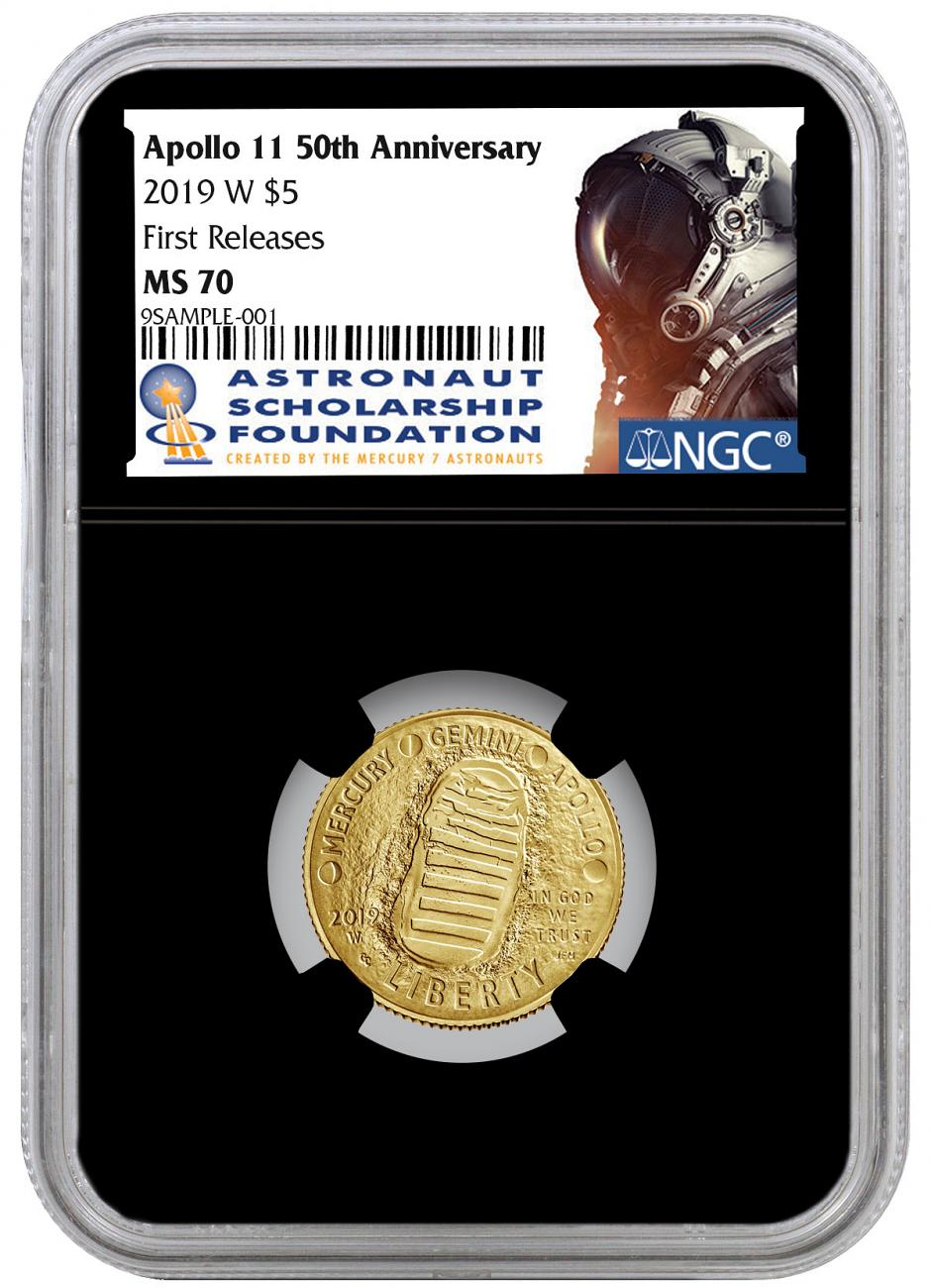 2019-W Apollo 11 50th Anniversary $5 Gold Commemorative Coin NGC MS70 FR Black Core Holder Astronaut Scholarship Foundation Label