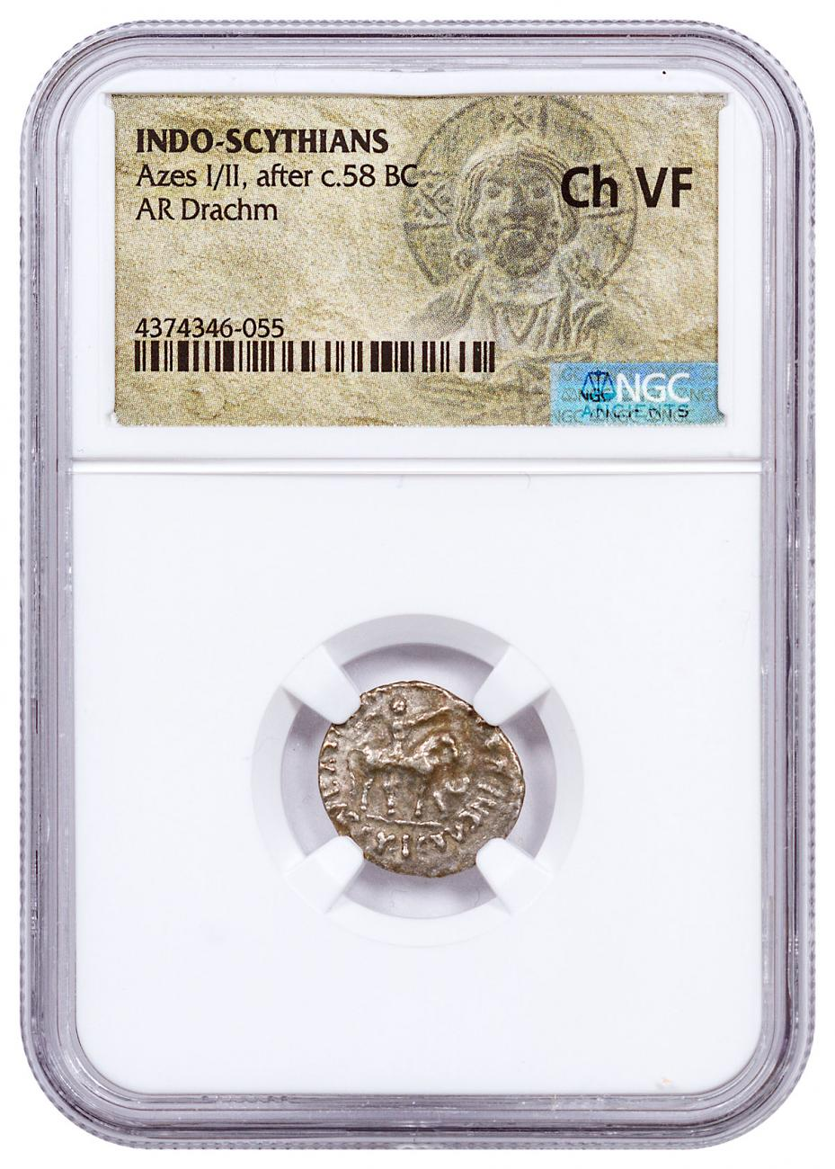 After c. 58 BC Indo-Scythians Azes I/II AR Drachm NGC Ch VF Christ Portrait Label