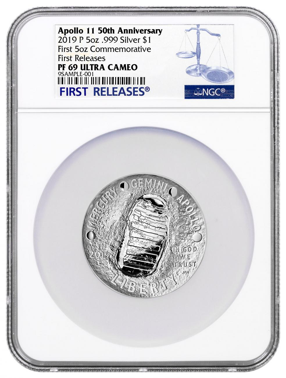 2019-P US Apollo 11 50th Anniversary Commemorative 5 oz. Silver Dollar Proof Coin NGC PF69 FR