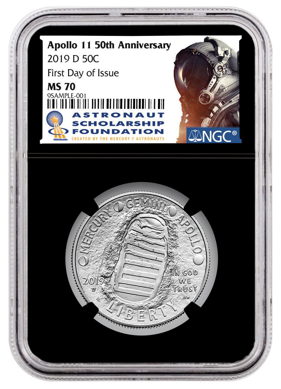 2019-D Apollo 11 50th Anniversary Commemorative Clad Half Dollar Coin NGC MS70 FDI Black Core Holder Astronaut Scholarship Foundation Label