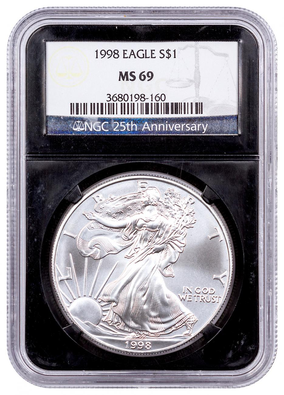 1998 American Silver Eagle NGC MS69 Black Core Holder NGC 25th Anniversary Label