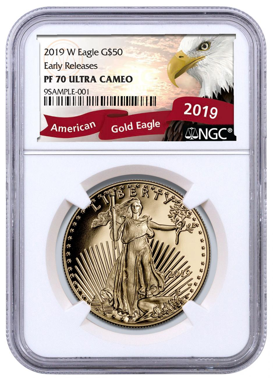 2019-W 1 oz Gold American Eagle Proof $50 NGC PF70 ER Exclusive Eagle Label