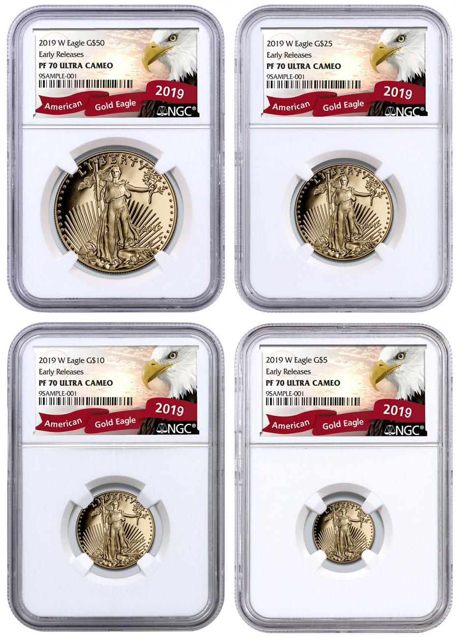 2019-W Gold American Eagle 4-Coin Set Proof NGC PF70 UC ER Exclusive Eagle Label