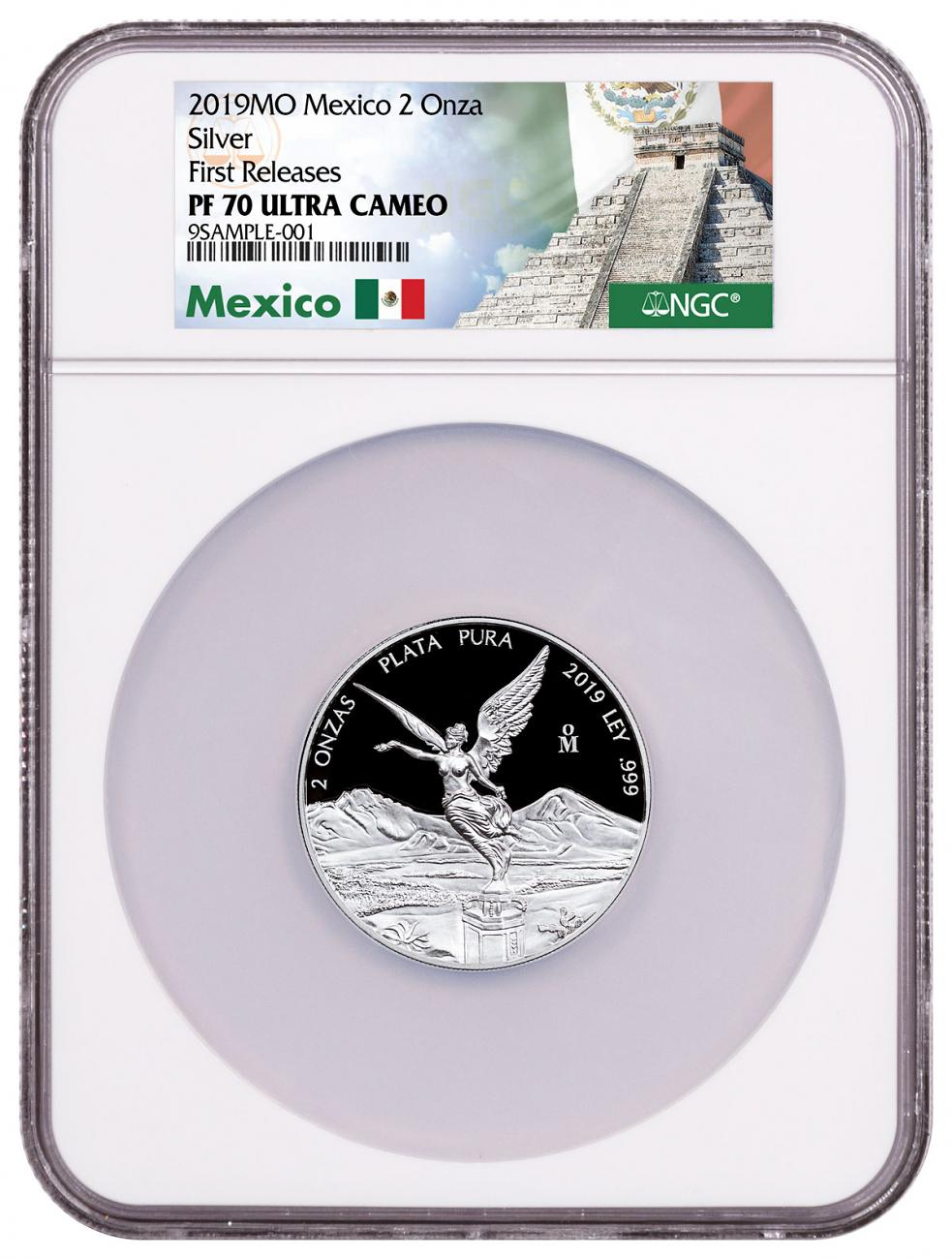 2019-Mo Mexico 2 oz Silver Libertad Proof 2 Coin NGC PF70 UC FR Mexico Label