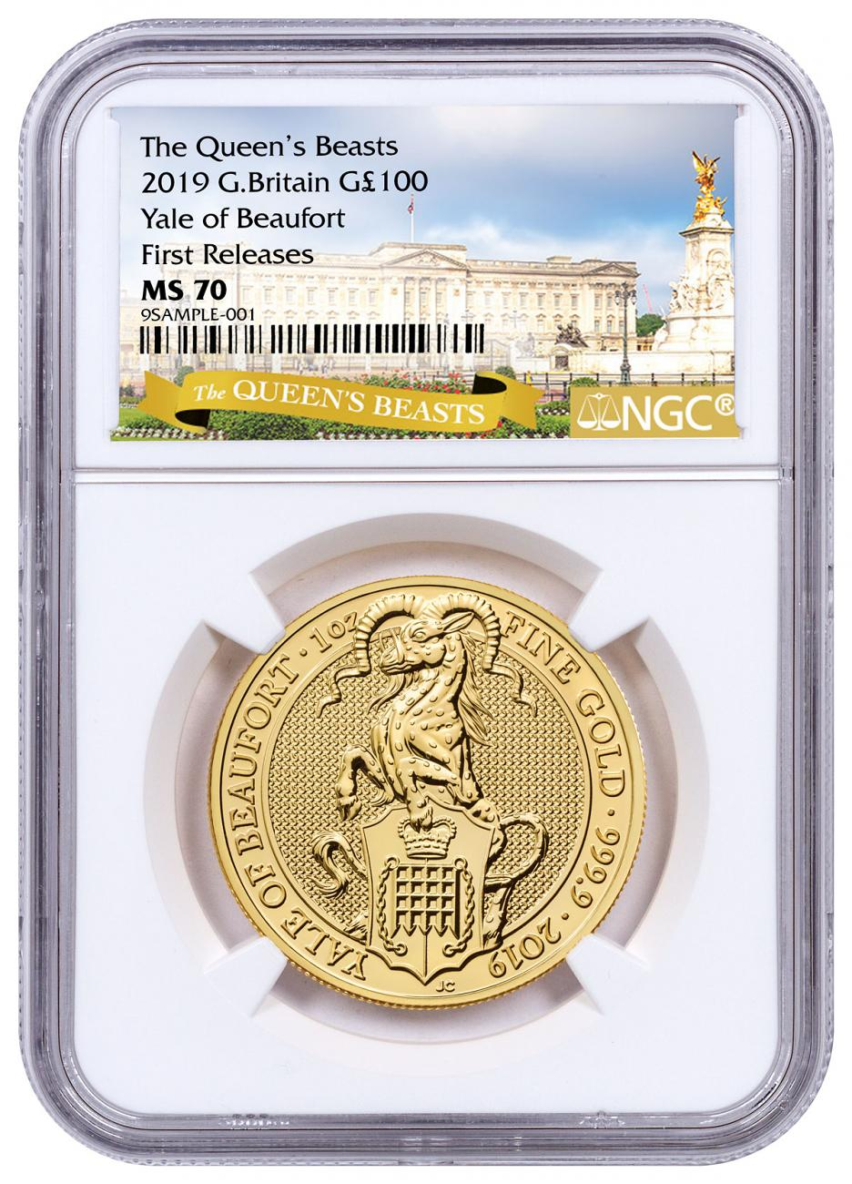 2019 Great Britain 1 oz Gold Queen's Beasts - The Yale of Beaufort £100 Coin NGC MS70 FR