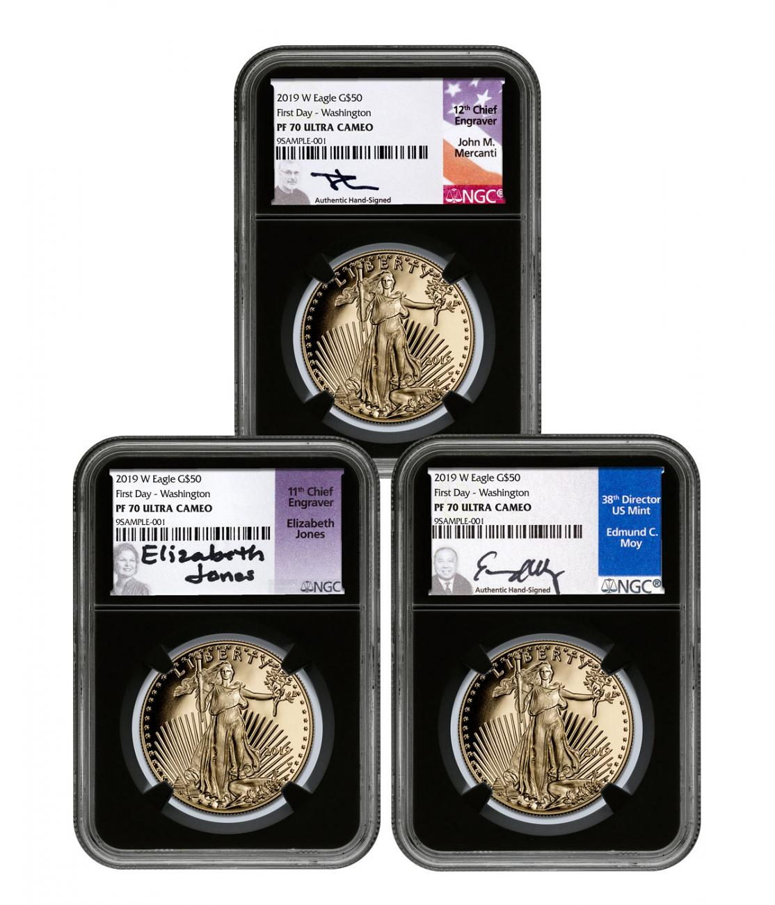 2019-W 1 oz Gold American Eagle 3-Coin Set Proof $50 Scarce and Unique Coin Division NGC PF70 First Day of Issue - Washington, D.C. Black Core Holder Mercanti + Jones + Moy Signed Labels