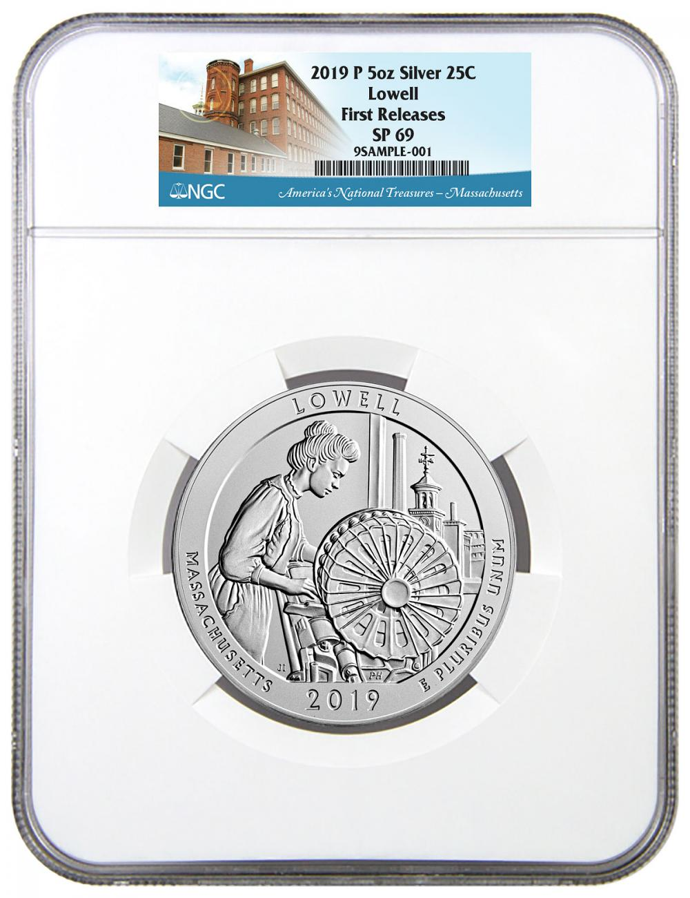 2019-P Lowell National Historic Park 5 oz. Silver America the Beautiful Specimen Coin NGC SP69 FR America's National Treasures Label